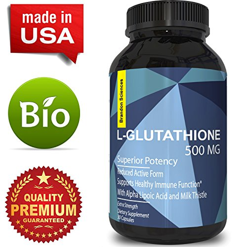 L-Glutathione Skin Whitening Capsules Glutamic and Amino Acids Immune Function Support and Detox Benefits Alpha Lipoic Acid Milk Thistle Extract For Strength 500 mg Supplements by Brandon Sciences 500 Mg Injection