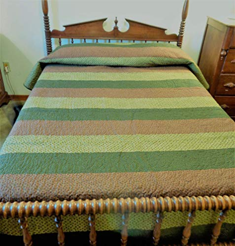 Cottage Stripes Comforter - Green and Brown Stripe Quilt Queen Full Ex-Long 79 x 107 Inches