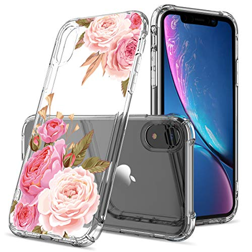 Floral Clear iPhone XR Case for Women/Girls,GREATRULY Pretty Phone Case for iPhone XR 6.1 Inch (2018 Release),Flower Design Transparent Slim Soft TPU Bumper Silicone Cover Shell,FL-K