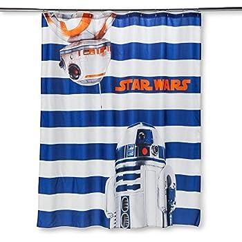 Star Wars Robot Shower Curtain: Blue and White Stripe
