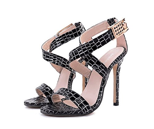 Sandalias Slim Style Negro Sweet Tacón JAZS® Serpentina Sexy Alto de New Sexy Zapatos Elegantes High Cinturón Cruz Europa de Fashion Heel Moda y Elegante América Mujeres 1aqFHw4WaP