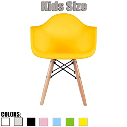2xhome   Yellow   Kids Size Eames Armchair Eames Chair Yellow Seat Natural  Wood Wooden Legs