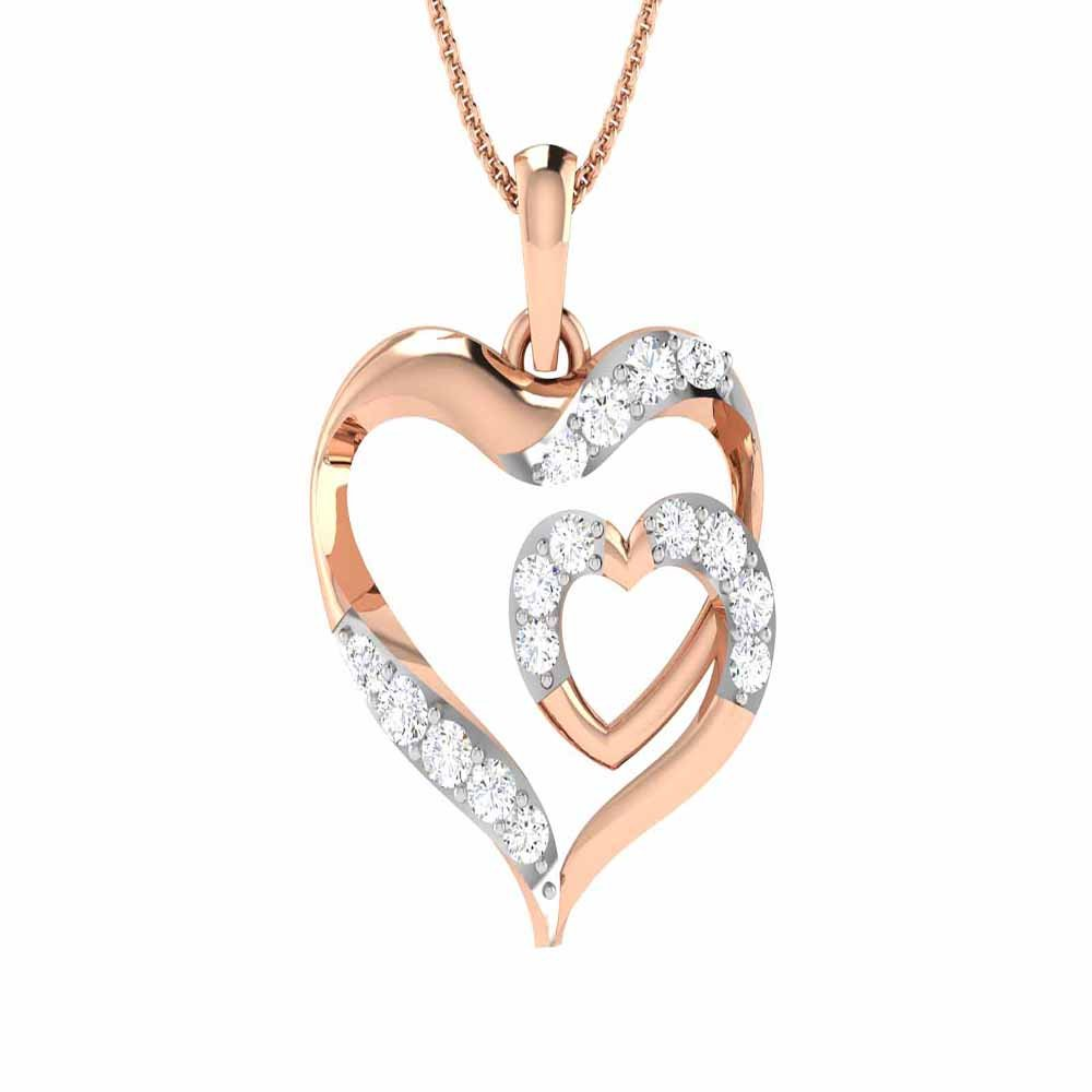 Rose Gold Plated 14K Alloy Simulated White Diamond Valentine Special Heart Pendant With Box Chain 18 Silverraj Jewels Heart Pendant Collection