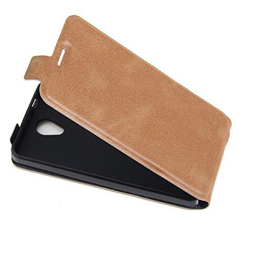 Para Alcatel OneTouch Pop 4 Caso compacto de piel PU, arriba-abajo piel abierta PU Funda de piel con ranura para tarjeta y función de protección completa con cierre magnético Caja a prueba de golpes p marrón