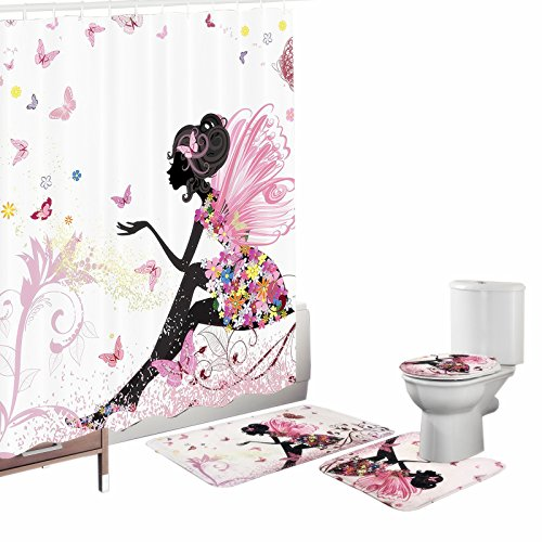 Amagical Flower Fairy Girl with Butterfly 16 Piece Bathroom Mat Set Shower Curtain Set Bathroom Mat Contour Mat Toilet Cover Fabric Waterproof Bathroom Curtain with 12 Hooks Colorful -