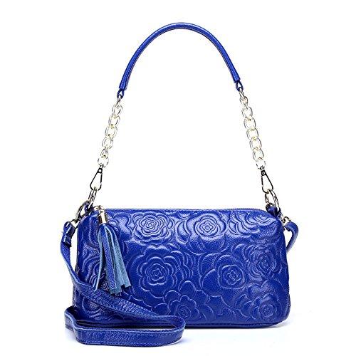 Mefly Die Neue Ledertasche Schultertasche Aus Leder Tasche Diagonal Light blue