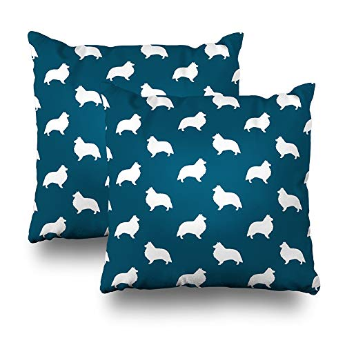 aily Decoration Throw Pillow Covers Shetland Sheepdog Silhouettes Square Pillowcase Cushion Couch Sofa Bed Modern Quality Design Cotton Polyester 18