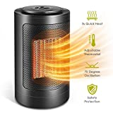 Space Heater, 1500W / 750W Portable Oscillating Ceramic PTZ Electric Heater with Adjustable Thermostat Over-Heat & Tilt Protection for Home and Office