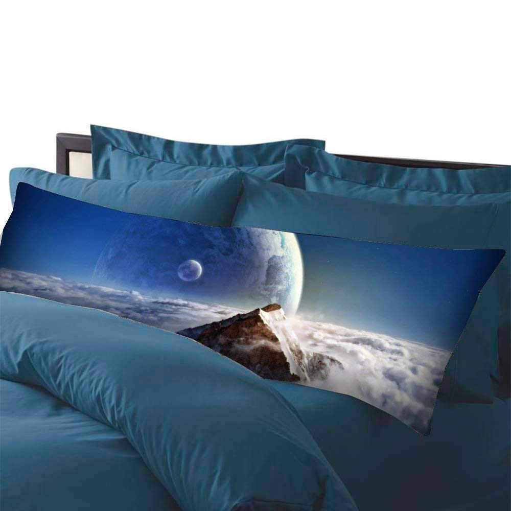 20-Inch x 54-Inch AILOVYO Colorful Pink Blue Galaxy Nebula Pattern Machine Washable Silky Soft Satin Decorative Body Pillow Case Cover