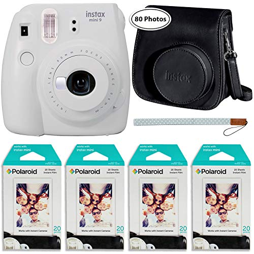 Fujifilm Instax Mini 9 Instant Camera (Smokey White), Groovy Case and 4X Twin Pack Instant Film (80 Sheets) Bundle