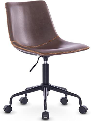 DJ Wang Grey Modern Desk Comfort White Swivel Fabric Home Office Task Chair with Arms and Adjustable Height Antique Brown