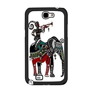 Lovely Cute Animal Print Cute Colorful Elephant Design Girls Cover Case for Samsung Galaxy Note 2 N7100 Unique Plastic Cell Phone Skin (indian tribal elephant)