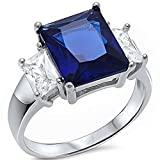 Radiant Cut Simulated Blue Sapphire & Baguette Cubic Zirconia .925 Sterling Silver Ring Sizes 5-10