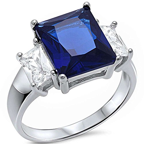 (Radiant Cut Simulated Blue Sapphire & Baguette Cubic Zirconia .925 Sterling Silver Ring Sizes 7)