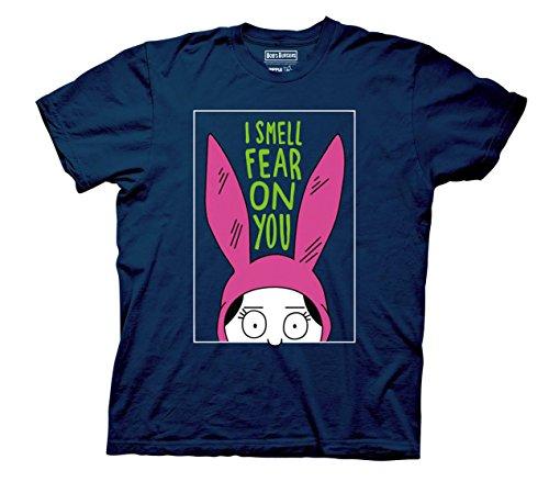 Bob's Burgers Louise I Smell The Fear On You T-Shirt (Medium, Navy Blue) -