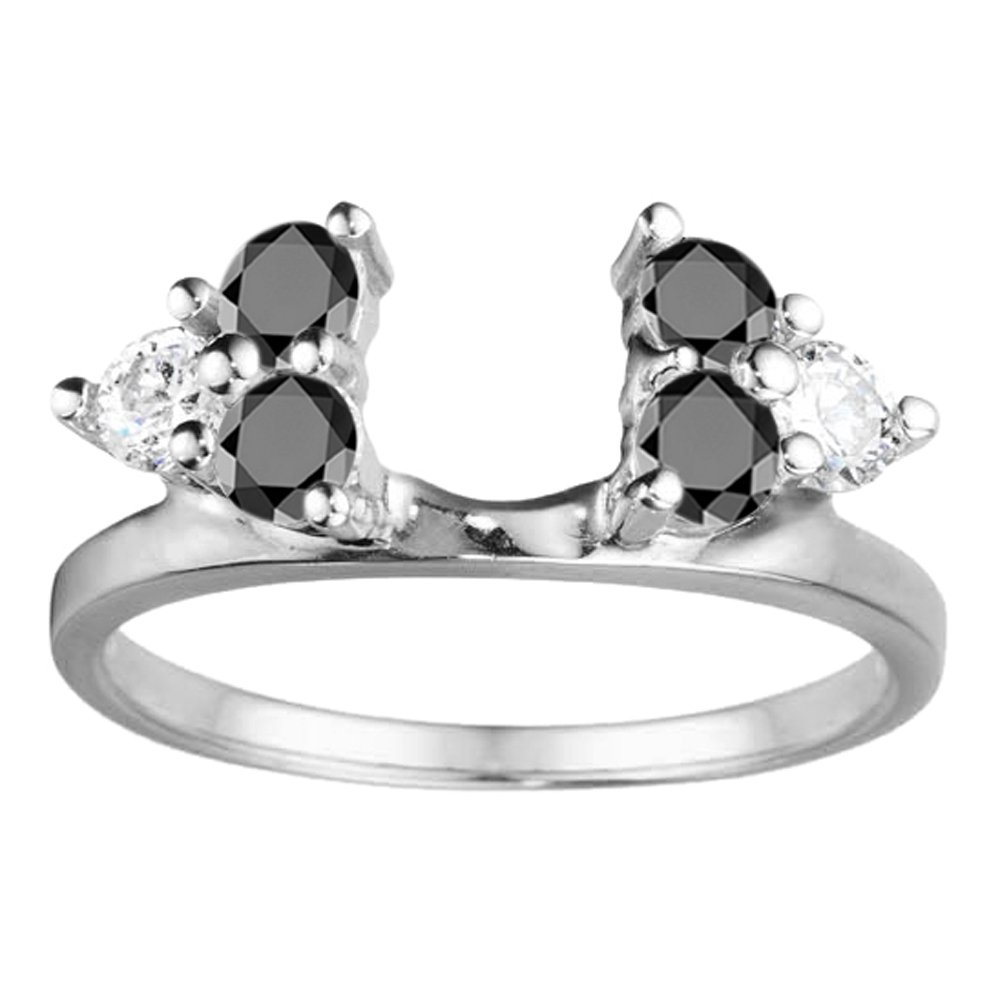 Black Cz Engagement Ring Jacket in Sterling Silver (0.12Ct) Size 3 To 15 in 1/4 Size Interval