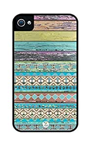 iZERCASE Colorful Aztec On Colorful Old Wood Pattern Rugged Premium iphone 4 / iPhone 4S case - Fits iPhone 4, iPhone 4S T-Mobile, AT&T, Sprint, Verizon and International (Black)