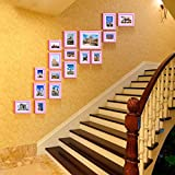 Solid wood photo frame wall creative combination of furniture simple staircase photo wall ( Color : Pink )