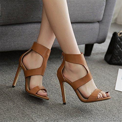 sandal Prom Rabbit Brown Peep High Evening style Sandals Toe women Heels Party Lovely Zipper Women's wtF1F