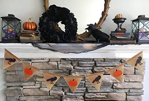 tyoungg Halloween Pumpkin Raven Burlap Banner Spooky Party Wall Room Hanging Pennant Garland 5 ft -