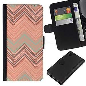For Sony Xperia Z1 L39 Case , Art Deco Vintage Wallpaper Art - la tarjeta de Crédito Slots PU Funda de cuero Monedero caso cubierta de piel