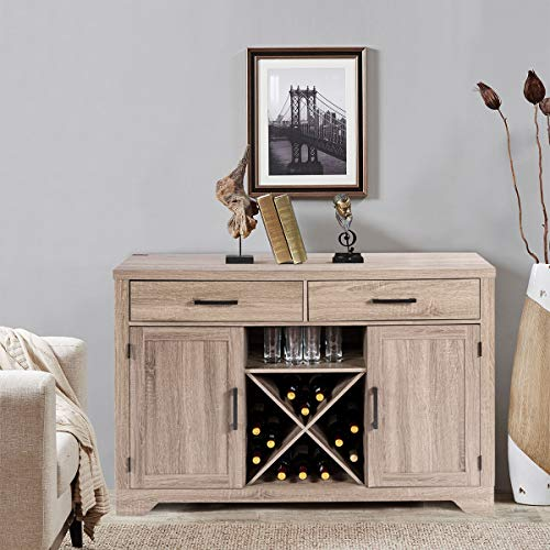 Giantex Buffet Cabinet Sideboard with Two Drawers Two Cabinets One Shelf and 4 Bottle Wine Rack Dining Room Home Furniture Console Storage Cabinet, Natural by Giantex (Image #1)