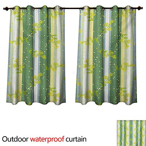 WilliamsDecor Striped 0utdoor Curtains for Patio Waterproof Mimosa Spring Flower Leaves on Striped Back March Blossoms Feminine Design Art W120 x L72(305cm x 183cm)