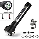 WIFORNT Solar Powered Flashlight, Multi-function Solar Emergency Rescue Potable Flashlight with Car Emergency Tool, Attack Hammer, Compass, USB Charger for Hiking, Camping, Traveling