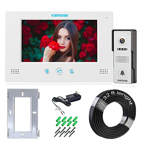 VANSOALL 7'' TFT LCD Wired Video Door Phone Doorbell Intercom System,1xColor Monitor and HD Camera for Villa Home Security,Support Monitoring,Unlock and 10 m Cable