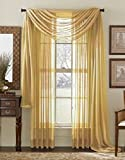 Avanti Home Elegance Solid Colors 1 PC Scarf Valance Soft Sheer Voile Window Topper Swag Panel Curtain 37″ x 216″ Long (1 Scarf: 37″ x 216″, Gold) Review
