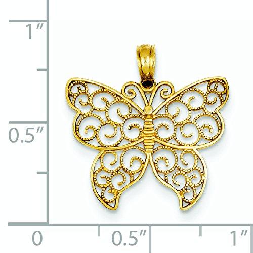 Poli et texturé Pendentif Papillon Or 14ct