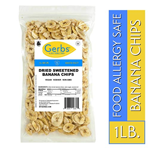 Banana Chips Sweetened, 1 LB - Unsulfured & Preservative Free - Top 14 Allergy Friendly & NON GMO by Gerbs - Product of Philippines (Best Banana Chips In The Philippines)