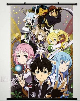 20*30CM SAO Anime Sword Art Online Wall Poster Scroll Home Decor Yuuki Asuna