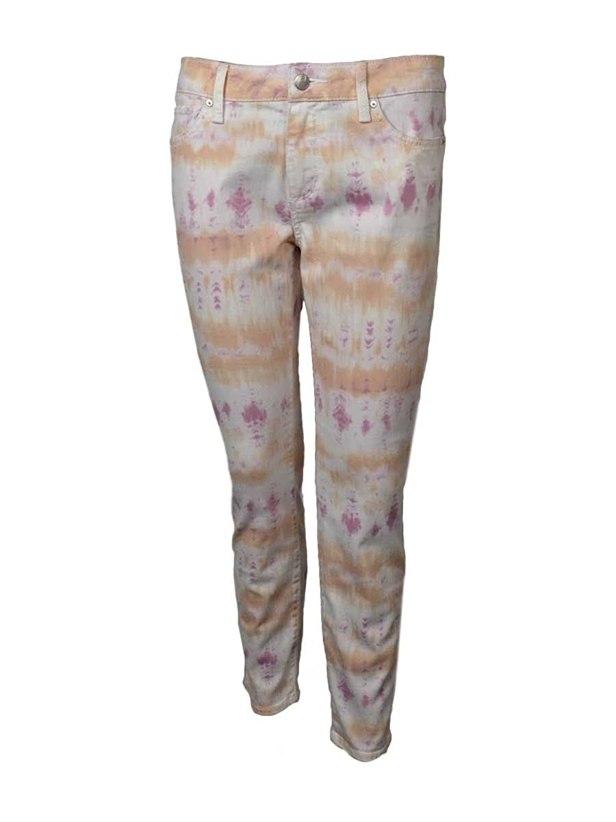 Else Womens Floral Print 28 Skinny Ankle Pants 29, Pastel Sunset