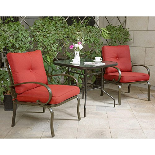 Cloud Mountain Bistro Table Set Outdoor Bistro Set Patio Furniture Set Wrought Iron Bistro Set Tempered Glass Square Table, Brick Red