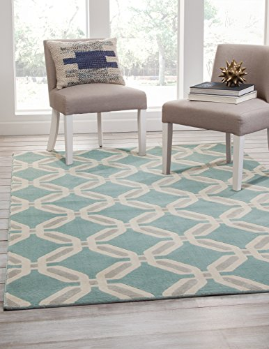 Abacasa Broadway Linked Area Rug, 5' by 8', Teal/Light Grey/Ivory
