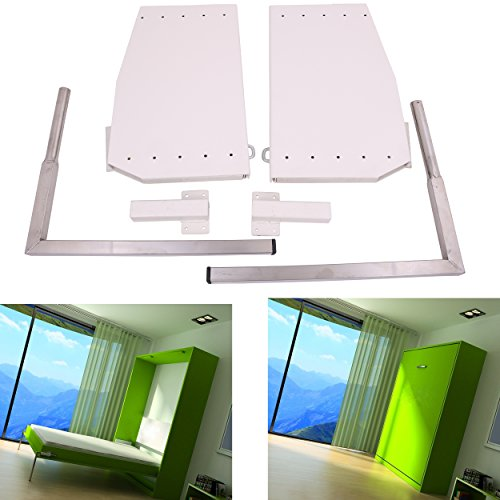 ECLV DIY Murphy Wall Bed Springs Mechanism Hardware Kit ,Vertical Wallbed Mounting,King size,White ()