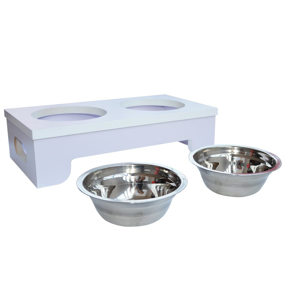 BINGPET Elevated Dog Bowls Raised Pet Feeder with Double Stainless Steel Dishes for Food and Water 15.2'' X 8''X 4'' by BINGPET (Image #4)