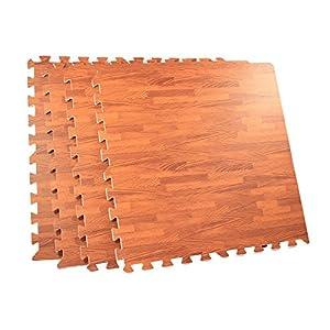 64 Square Foot EVA Foam Wood Grain Utility Floor Mat Cherry