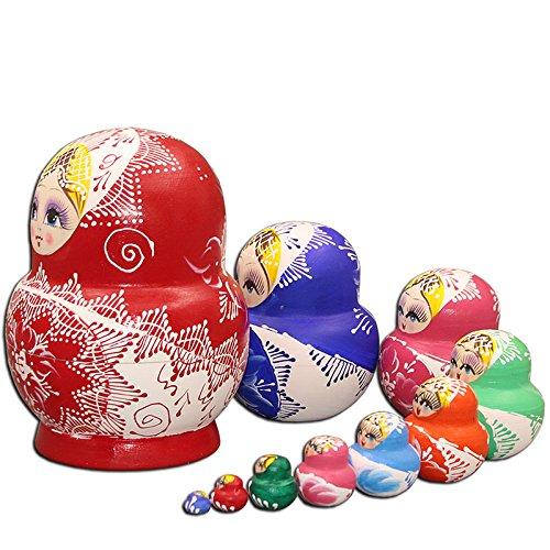 LK King&Light - 10pcs Red_White Flower Russian Nesting Dolls Matryoshka Wooden Toys