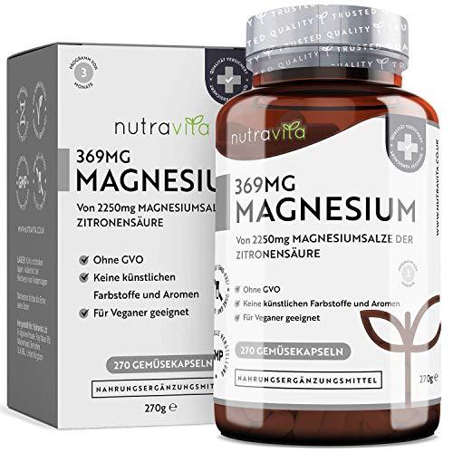 Magnesiumcitrat 2250mg Davon 369mg Elementares Magnesium pro Tagesdosis – 270 Vegane Kapseln von Premium Magnesiumcitrat – GVO Frei und Beste Zertifizierte Qualität - Hergestellt von Nutravita