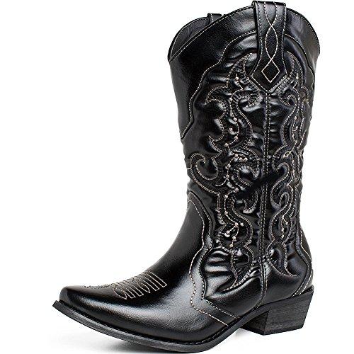 SheSole Women's Western Cowboy Cowgirl Boot, Black, 9 B(M) US