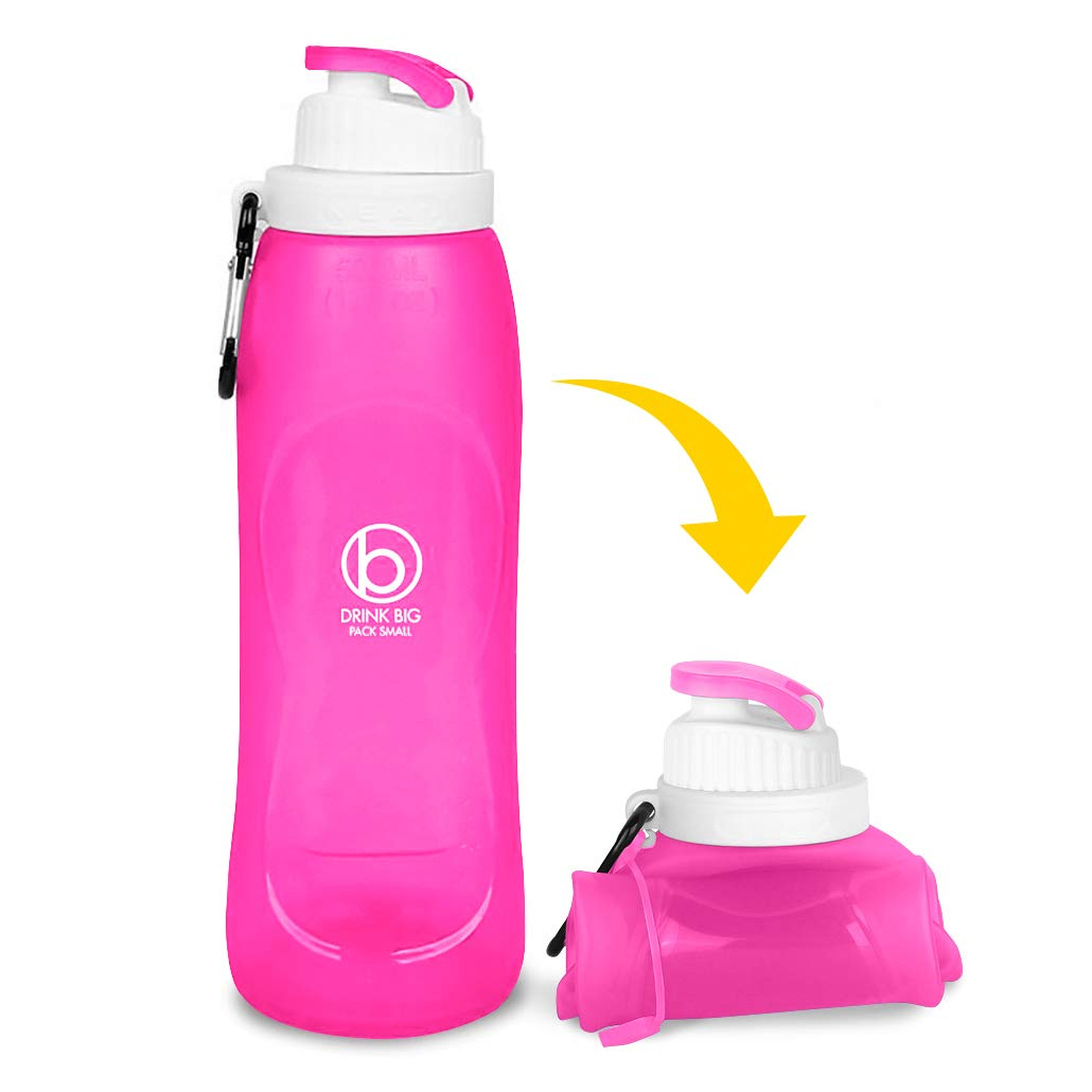 Biaggi Luggage Outdoor Collapsible Silicone Water Bottle with Clip, Easy to Clean and Store