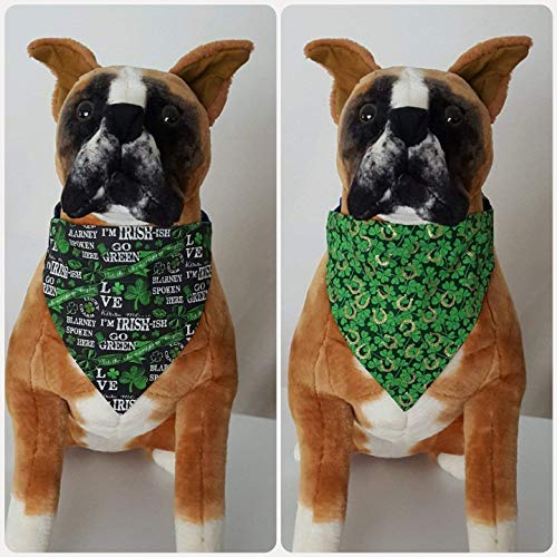 Reversible St. Patrick's Day, Irish, Kiss Me I'm Irish-ish, Shamrock, Gold Horseshoes, Bandana, Scarf, Dog, Pet, Slip On Over The Collar, (Does Not Tie) 2 in one