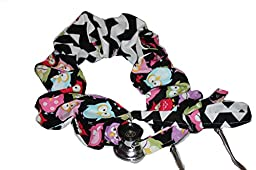 Stethoscope Cover, Reversible, Scrunchie Style Pink Red Green Owls Black Chevron