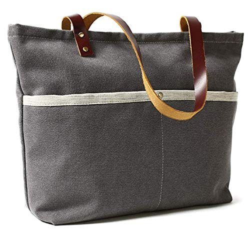 ROCKCOW Waxed Canvas with Leather Tote Bag Shoulder Bag Metal zipper Handbag