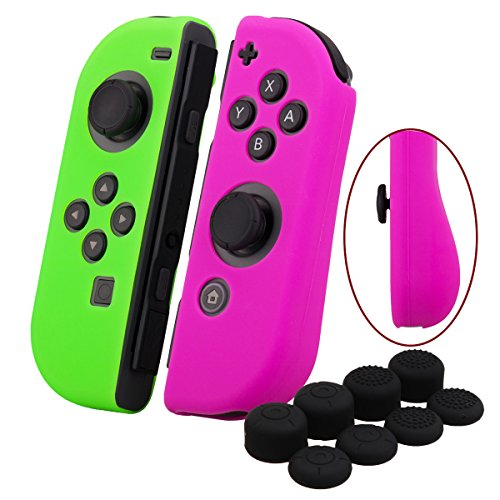 YoRHa Hand grip Silicone Cover Skin Case x 2 for Switch/NS/NX Joy-Con controller (dark pink+green) With Joy-Con thumb grips x 8 (Green Skin Cover)