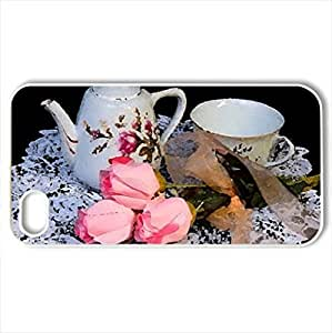 tea,lace and rosCase For Ipod Touch 5 Cover (Flowers Series, Watercolor style, White)