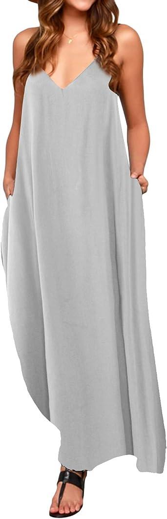 TALLA M. ACHIOOWA Mujer Vestido Elegante Casual Dress Cuello V Sin Manga Playa Tirantes Bolsillos Punto Falda Larga Gris