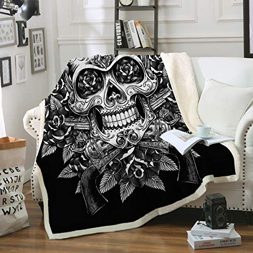 Sleepwish Sugar Skull Blanket, Comfort Warmth Soft Cozy Air Conditioning Machine Wash, Black and White, Rose Skull Sherpa Fleece Blanket (Twin 60